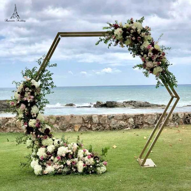 Modern Geometric Wedding Octagonal Metal Flower Arch