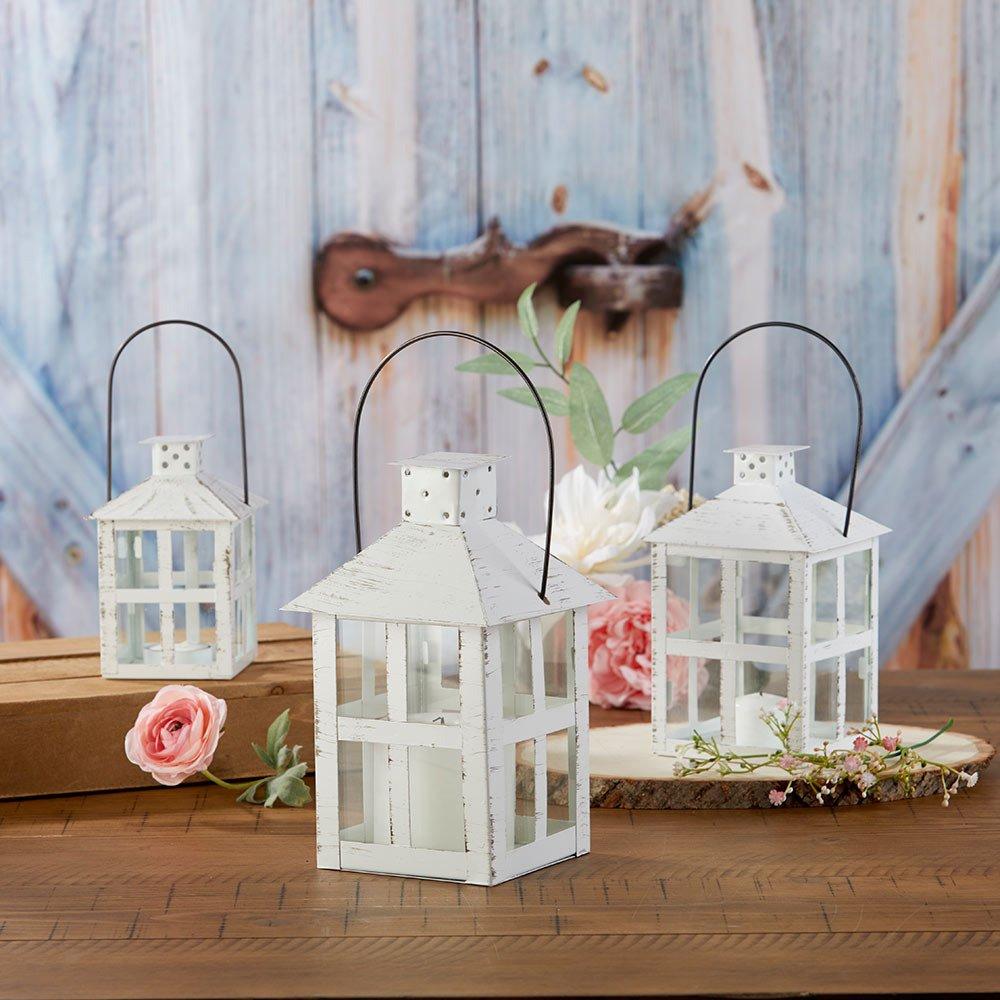 Vintage Large White Distressed Lanterns Backyard wedding Decor Idea