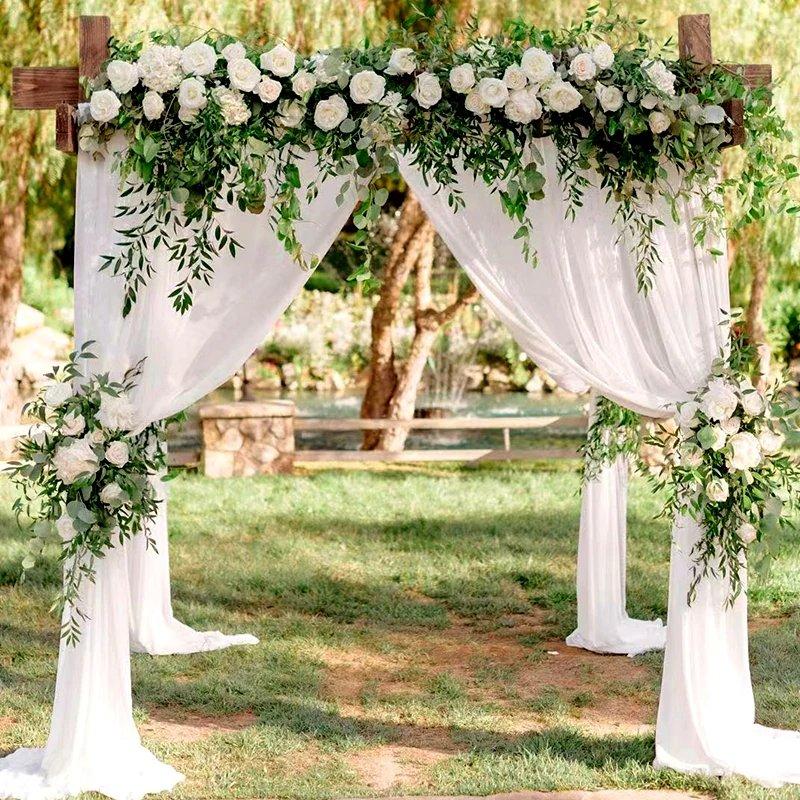 Vintage Intimate Backyard Wedding DIY Organza Roll For Wedding Arch