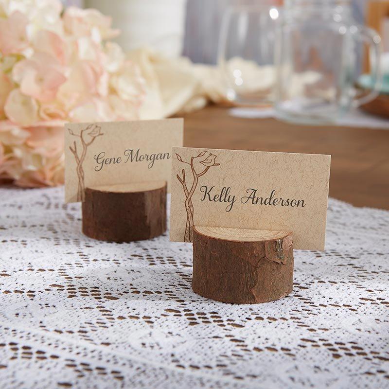 Vintage Intimate Backyard Wedding Wood Place Card Holders