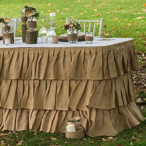 Rustic backyard Tiered Ruffle Sweetheart Table Skirt