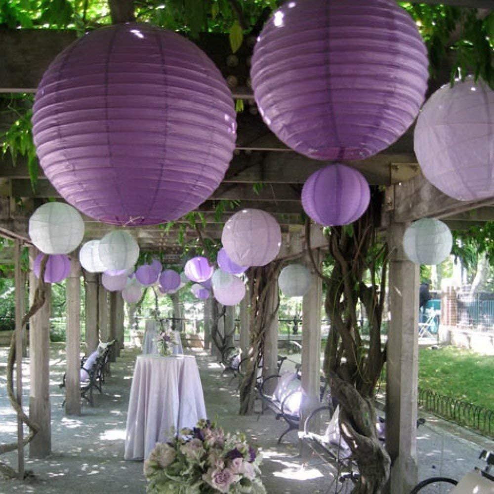 Shades of Purple Paper Lantern Wedding Decor