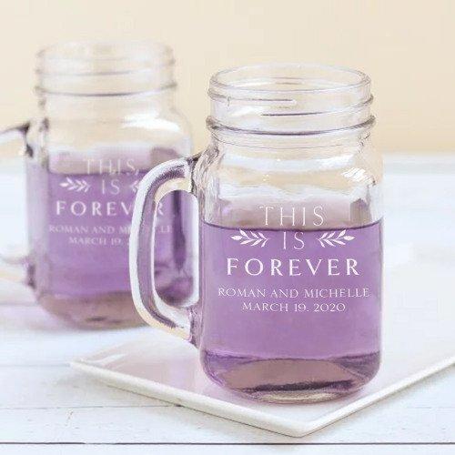Whimsical Shades Of Purple Wedding Personalized Printed Mason Jar Favor Mugs