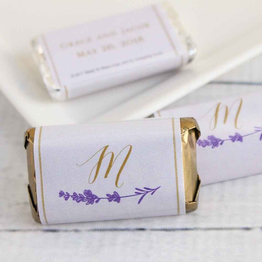 Personalized shades of purple Hersheys Miniature wedding favors