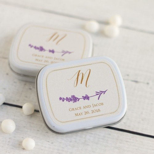 Personalized shades of purple Personalized Min Tin wedding favors