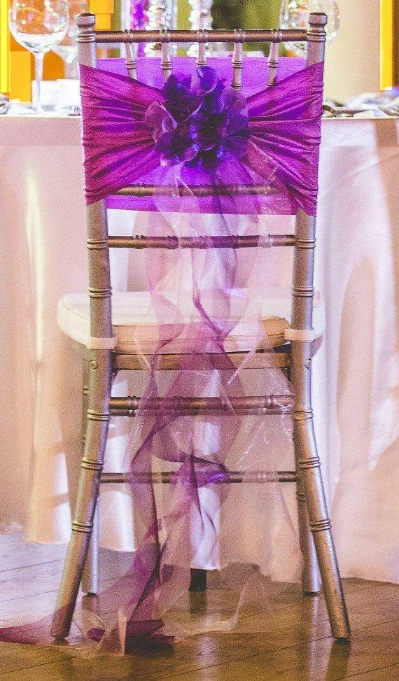Whimsical Shades Of Purple Wedding Ruffle Chiffon Bow Chair Cover Decor