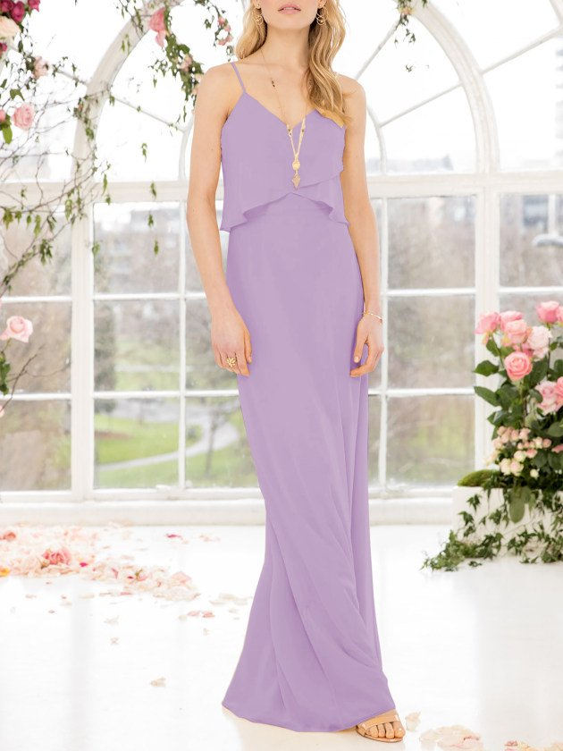 Pastel Lilac Sheath Spaghetti Straps Bridesmaid Dress