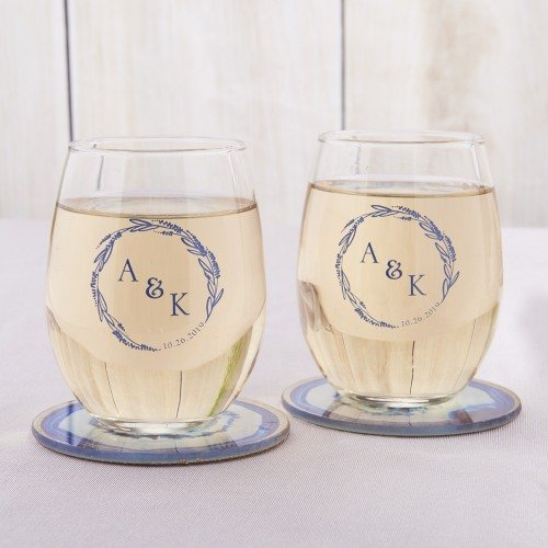 Whimsical Shades Of Purple Wedding Personalized Stemless Wine Glasses