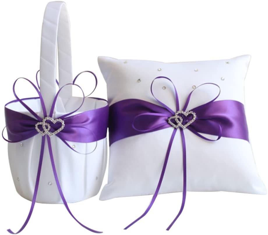 Purple Ring Bearer Pillow & Flower Girl Basket