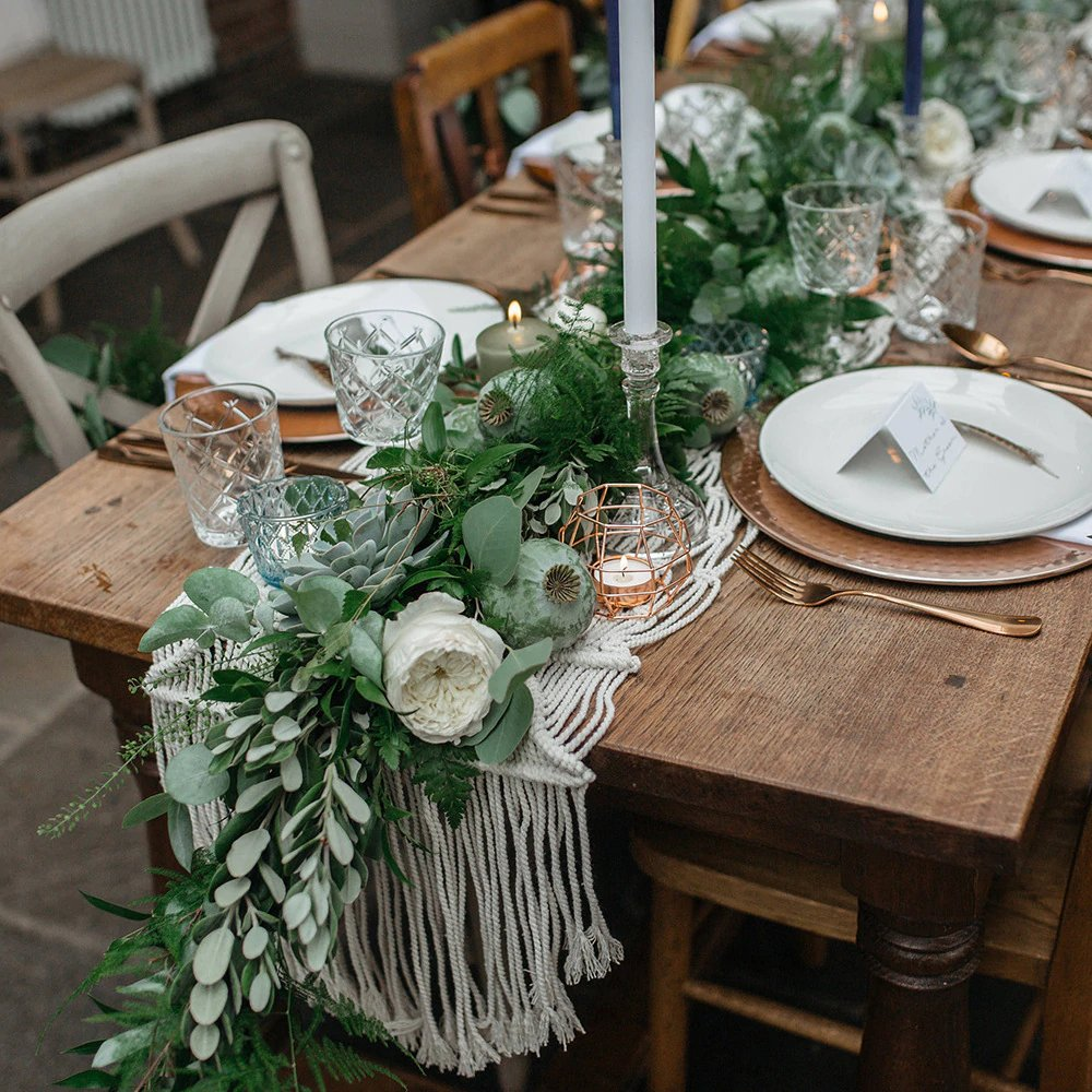 Bohemian Wedding Macrame Table Runner Decor
