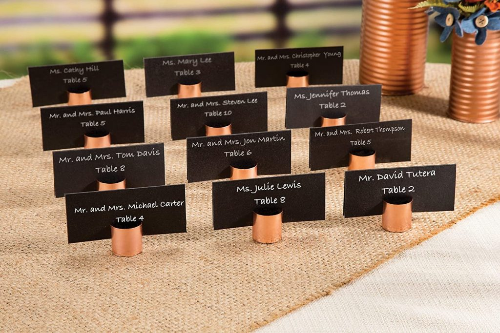Copper Wedding Place Card Holders