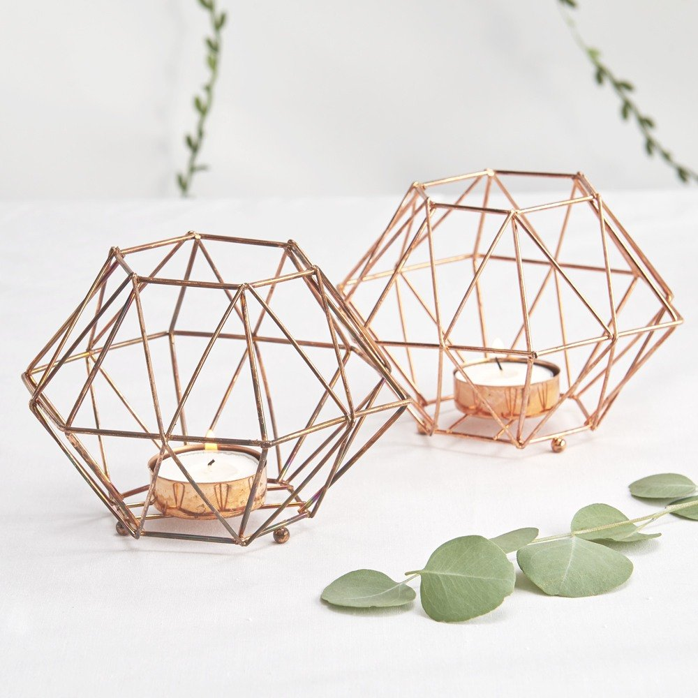 Bohemian Wedding Copper Geo Tea Light Holders