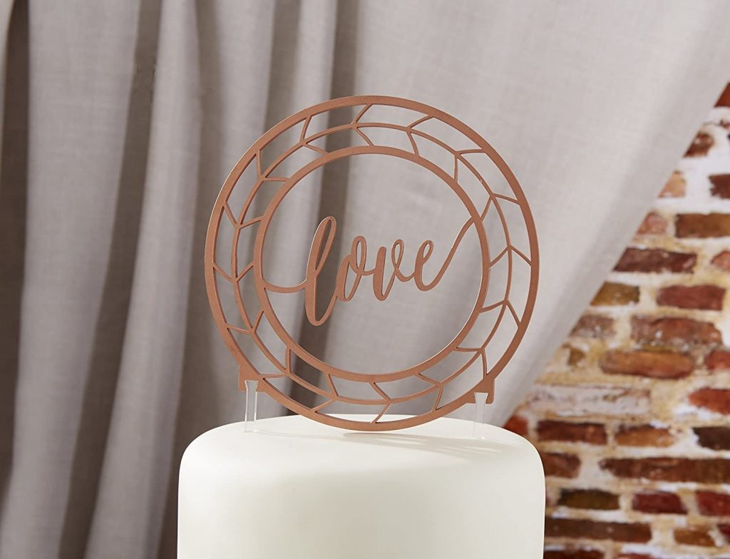 Copper Wedding Cake Topper