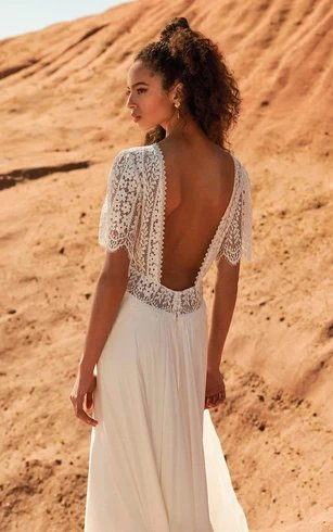 Bohemian Lace and Chiffon Open Back Wedding Dress