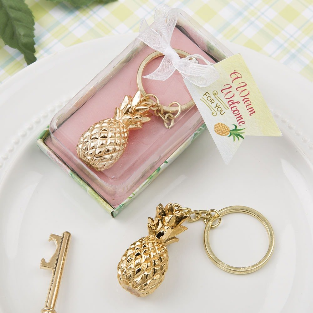 Gold Pineapple Keychain Wedding Favors