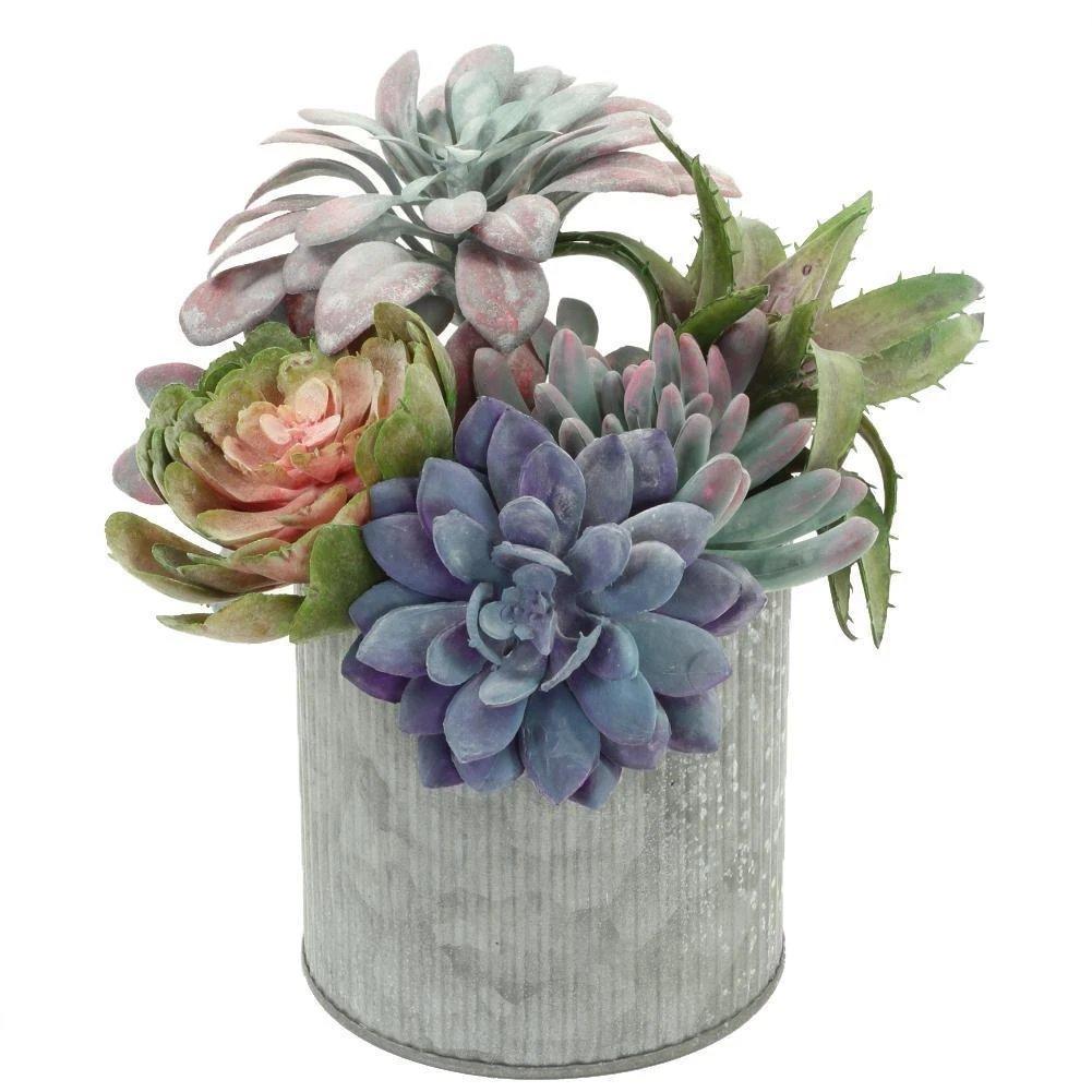Industrial Chic Wedding Corrugated Zinc Cylinder Vase Centerpiece Decor