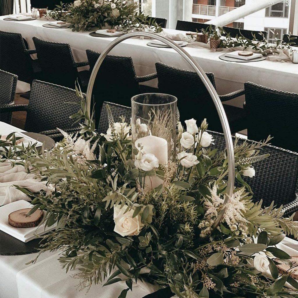 Industrial Chic Wedding Round Metal Round Flower Centerpieces
