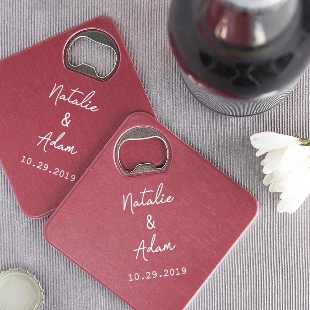 Industrial Script Personalized Coaster Bottle Opener Wedding Favors