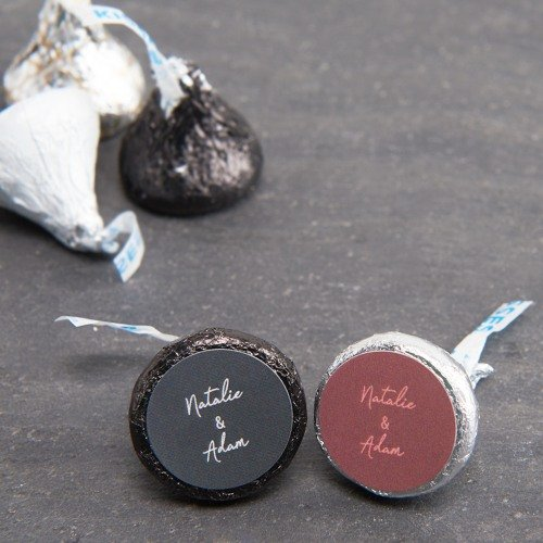 Industrial Script Personalized Hershey's Kisses Wedding Favors