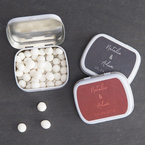 Industrial Script Personalized Mint Tin Wedding Favors