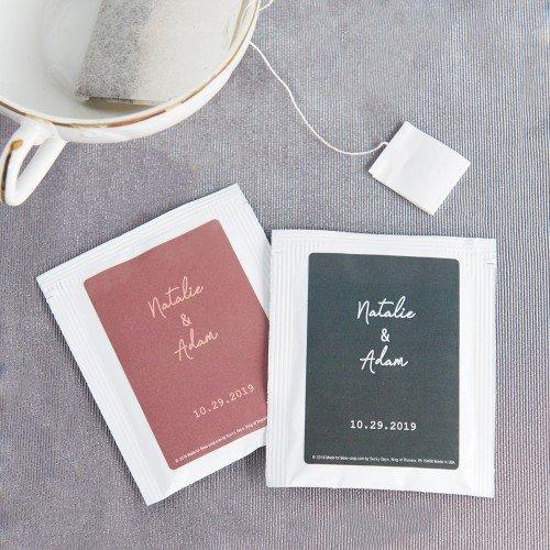Industrial Script Personalized Tea Bag Wedding Favors