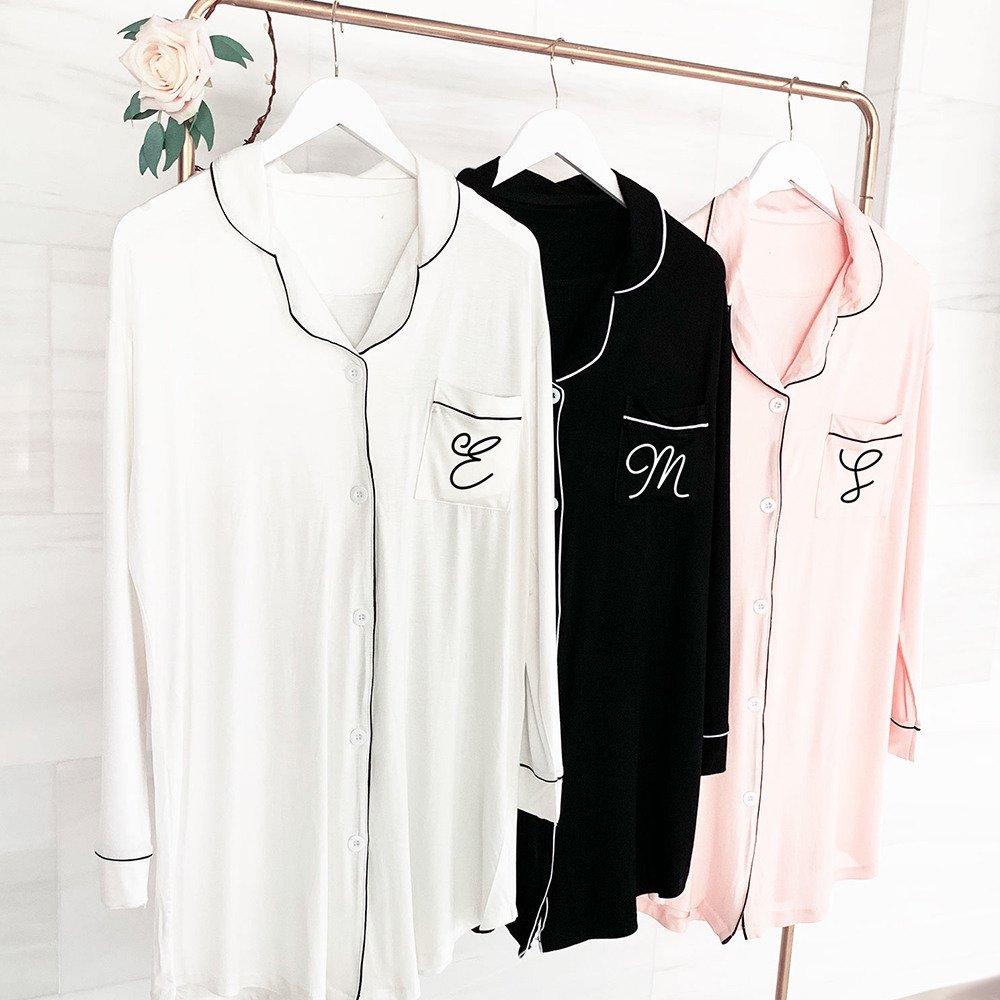 Monogram Sleep Shirt Elegant Bridesmaid Gift Idea