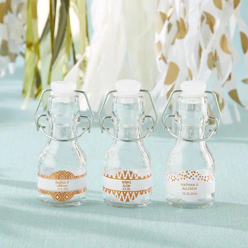 Personalized Copper Foil Mini Glass Wedding Favor Bottles
