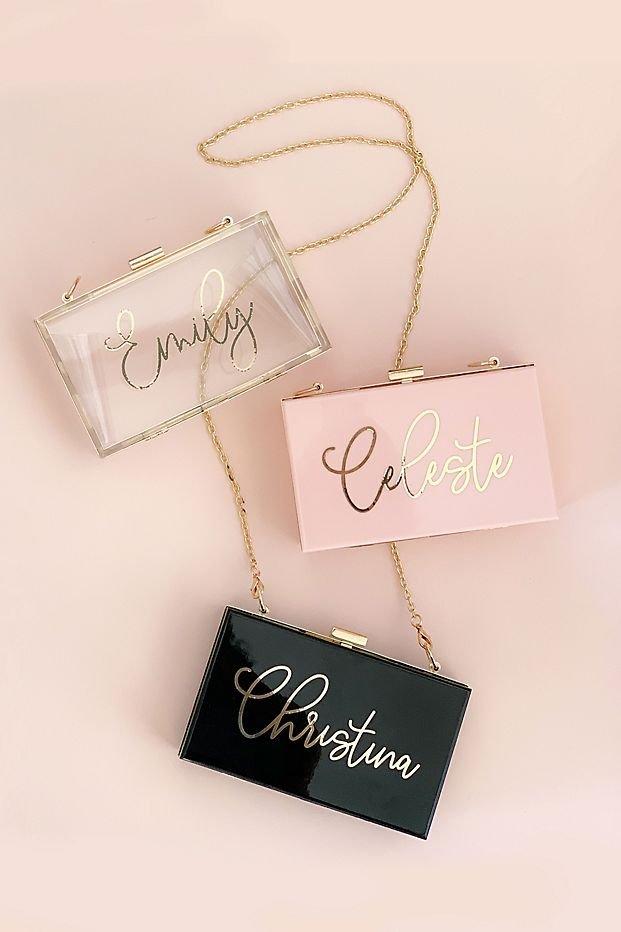 Personalized Script Clutch Bridal Shower Elegant Bridesmaid Gift Idea