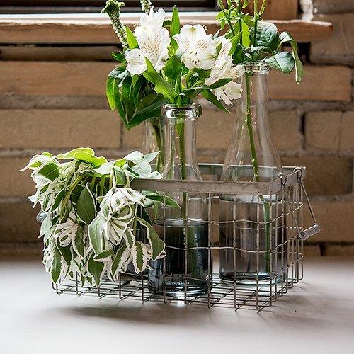 Industrial Chic Wire Basket Wedding Decor