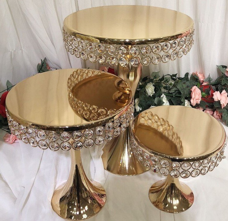 Luxurious Gold Crystal Cake Stand Set