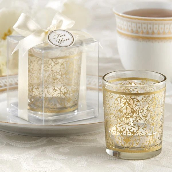 Blissfully Dreamy Wedding Golden Glass Tea Light Favor Holders and Table Decor Idea