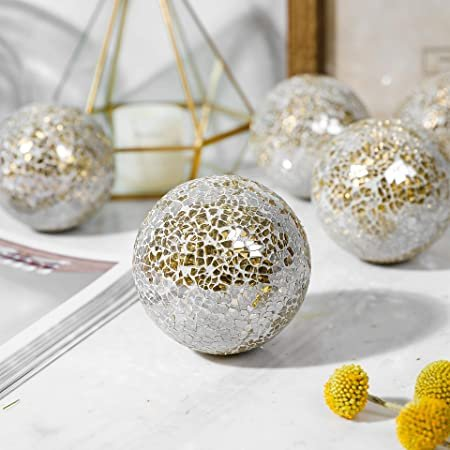 Mosaic White & Gold Sphere Balls Blissfully Dreamy Decor