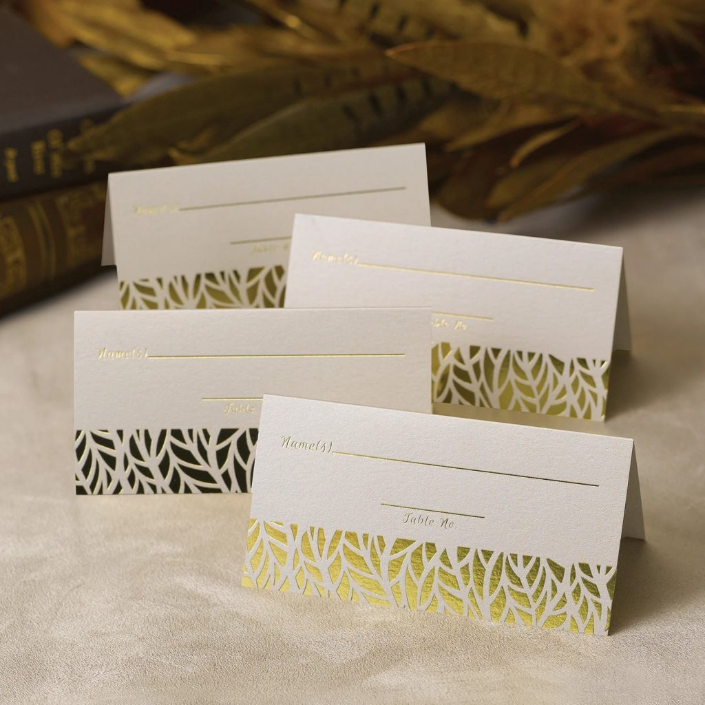 Organic Leaves Wedding Place Cards