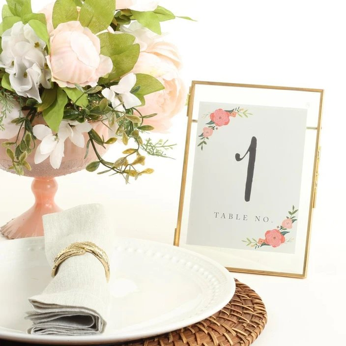 Gold Wedding Table Number Frame
