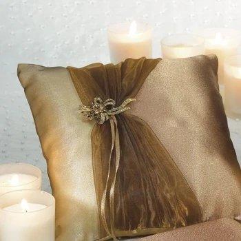 Bronze Elegance Wedding Ring Bearer Pillow
