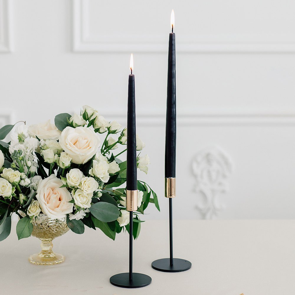 Modern Black and Gold Wedding Color Candle Holders