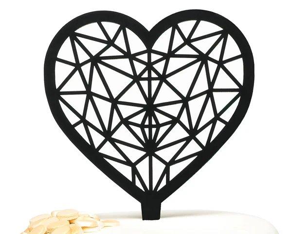 Modern Black Geometric Heart Cake Topper