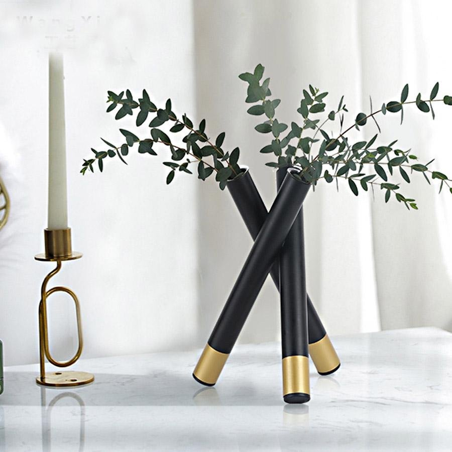 Modern Geometric Black & Gold Iron Glass Flower Vase