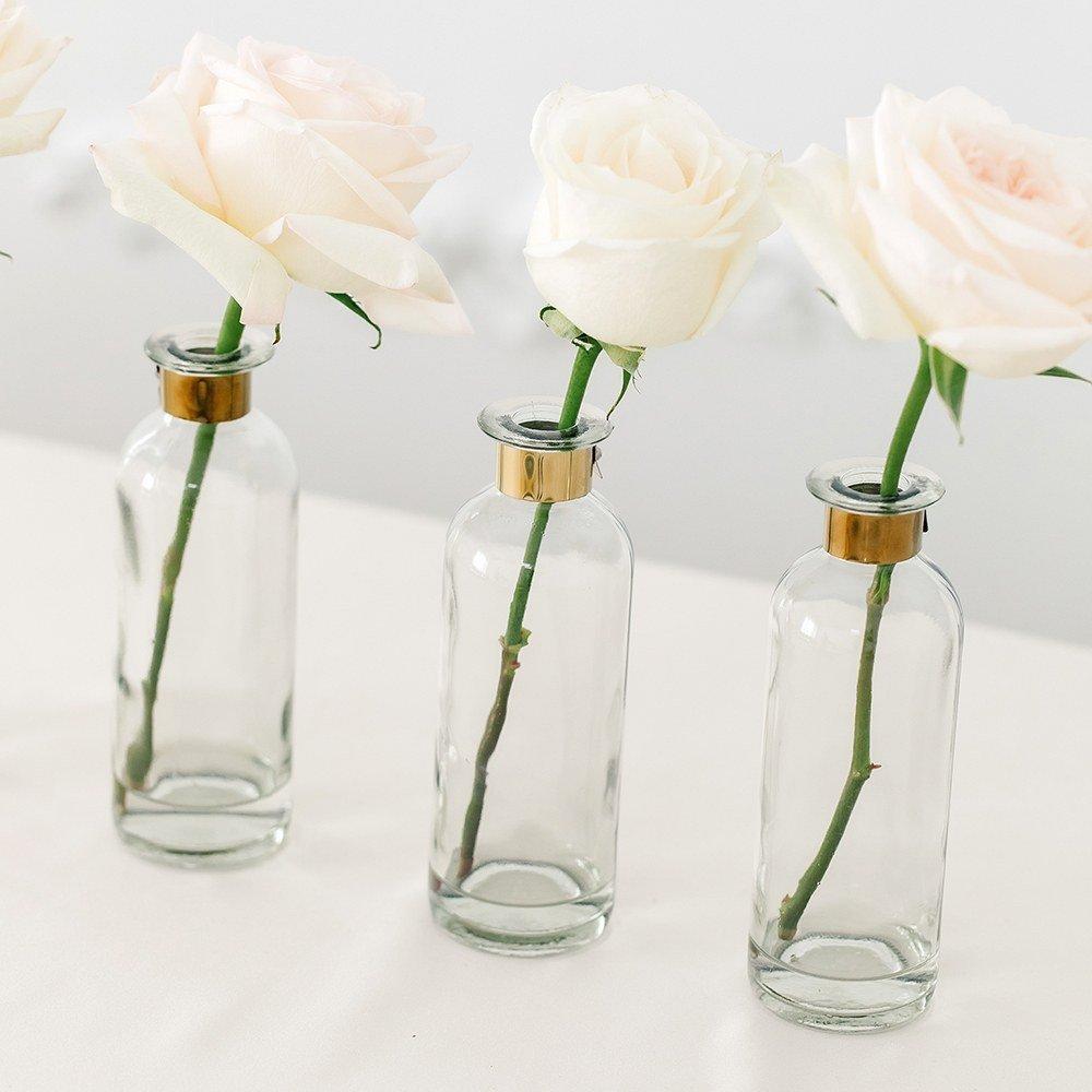 Modern Black and Gold Wedding Color Scheme Glass Bottle Flower Vases