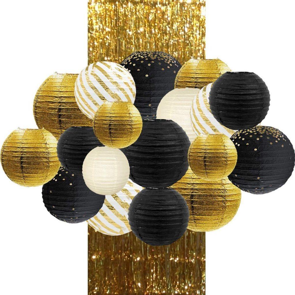Black & Gold Paper Lantern Decor Kit
