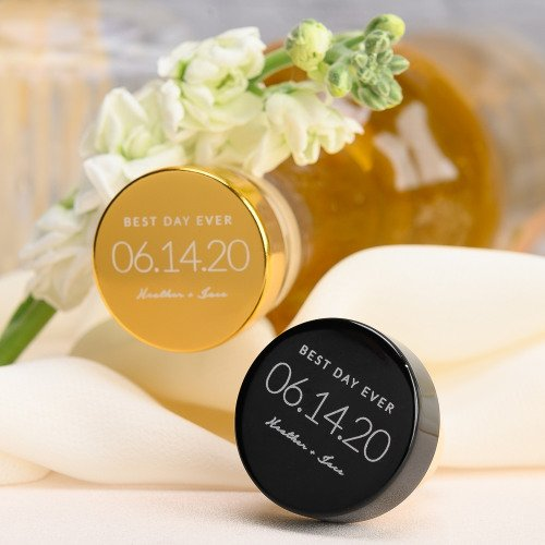 Modern Black and Gold Wedding Personalized Aluminum Top Bottle Stopper Favors