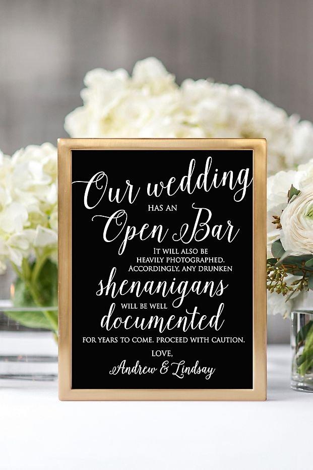Modern Black & Gold Wedding Personalized Open Bar Script Reception Sign
