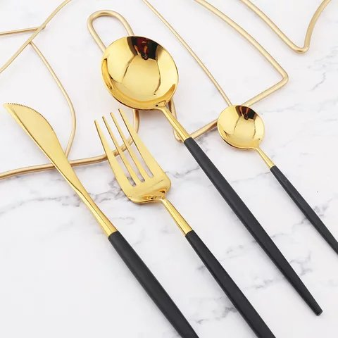 Modern Black & Gold Wedding Stainless Steel Flatware