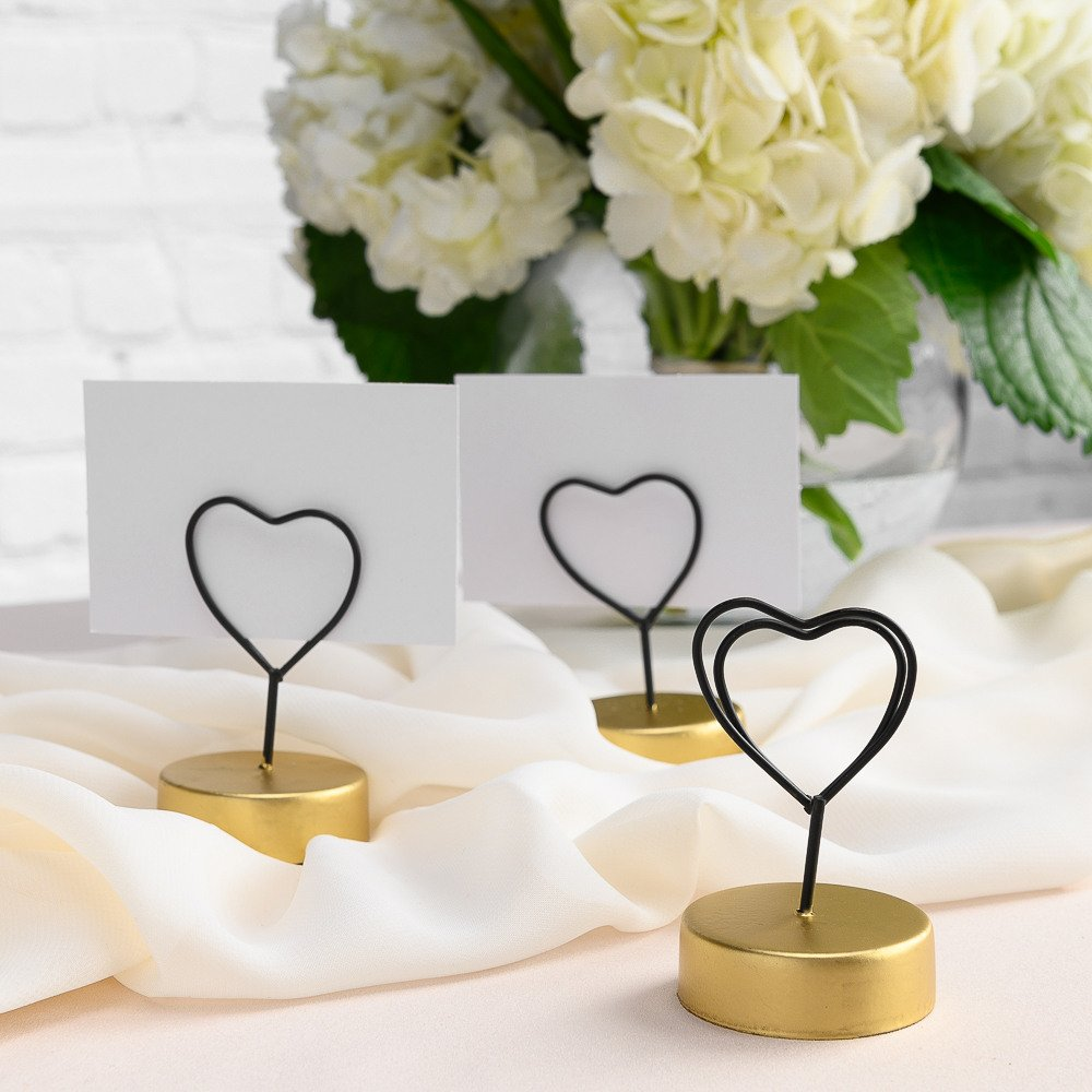 Modern Black and Gold Wedding Color Scheme Wire Heart Place Card Holders