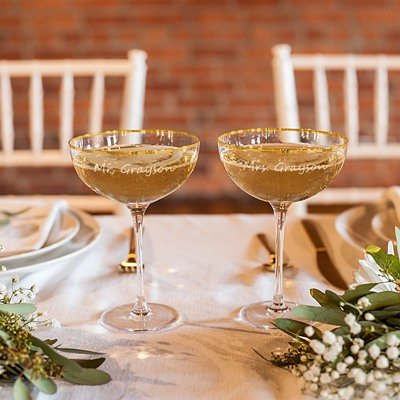 Personalized Gold Rim Coupe Flutes
