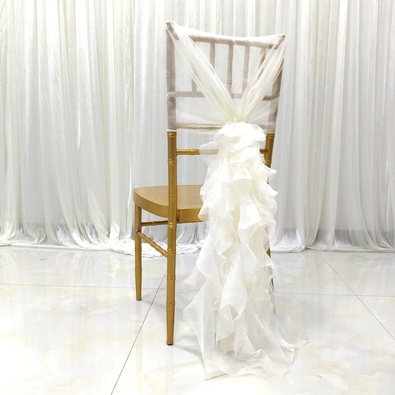 Blissfully Dreamy Wedding Ruffled Chair Sash