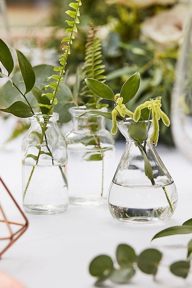 Glass Bottle Vase Set Cottagecore Wedding Table Decor