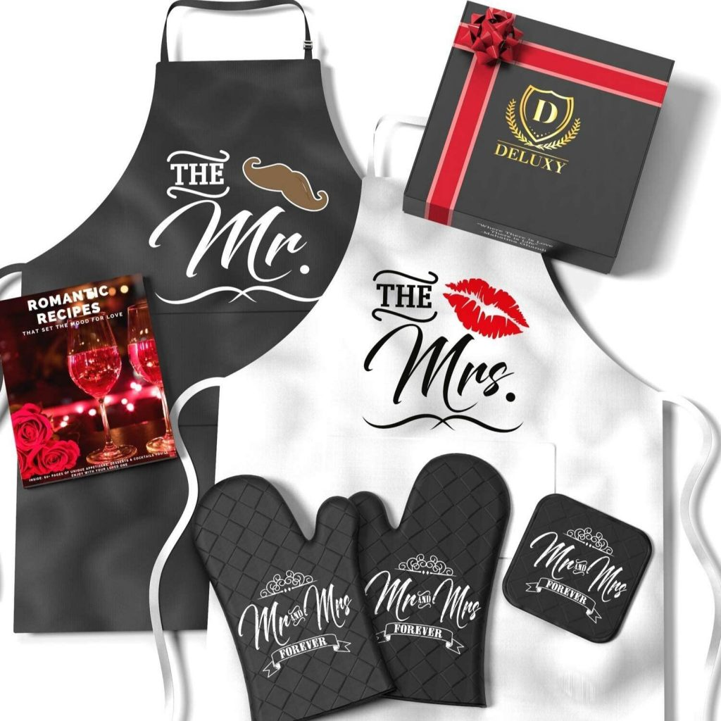 Mr. & Mrs. Apron Gift set Wedding Gift Idea