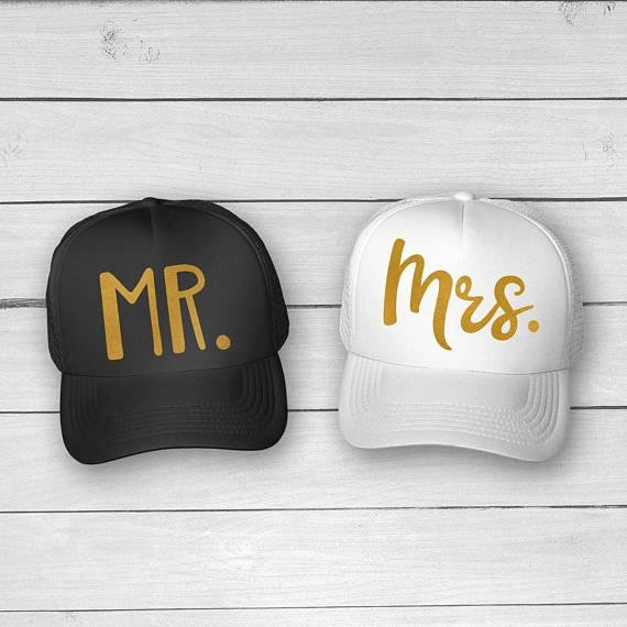 Mr. & Mrs. Glitter Hat Caps