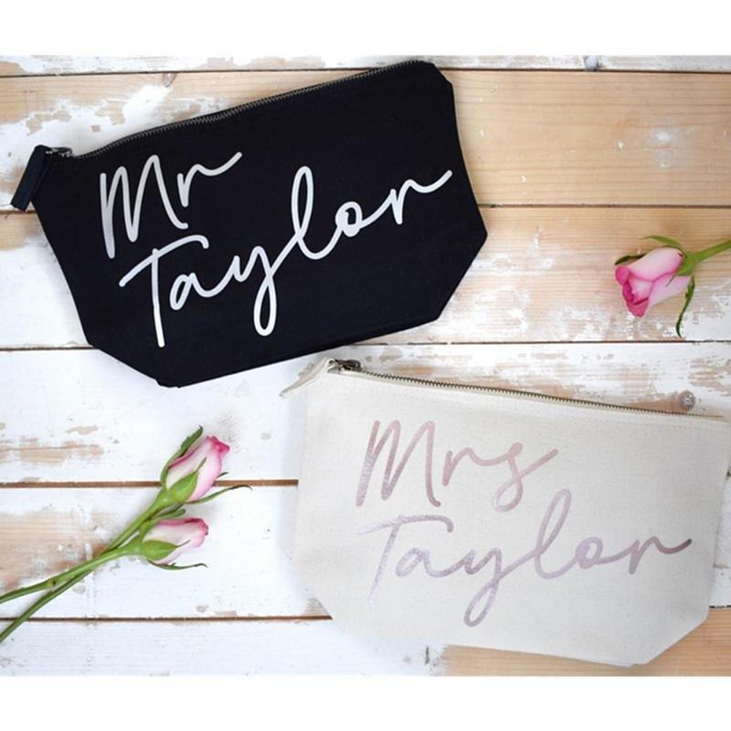 Personalized Mr. & Mrs. Toiletry and Make Up Bags
